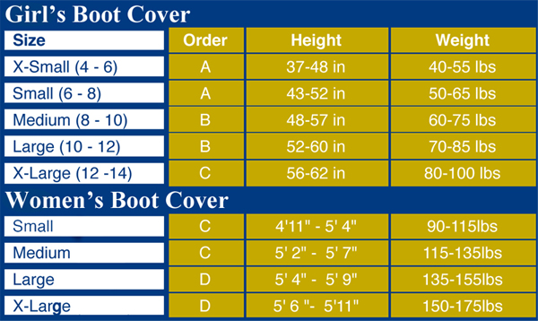 Boot Cover Size Chart